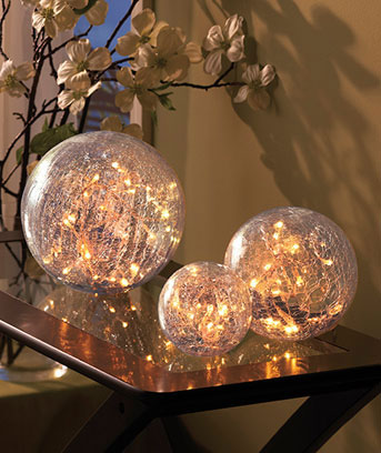 Set of 3 Lighted Glass Balls