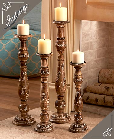 Handcrafted Wood Candleholder Set
