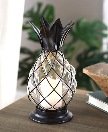 Glass Pineapple LED Hurricane Lantern