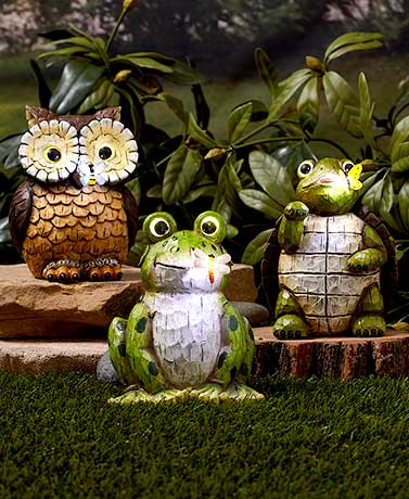 Solar Carved Wood-Look Garden Statues