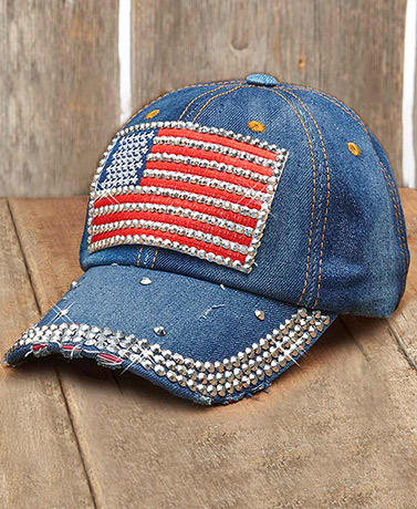 Bling Embellished Denim Baseball Hats