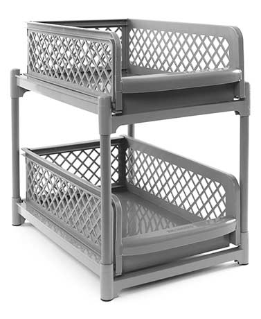 Gray Sliding 2-Basket Drawers