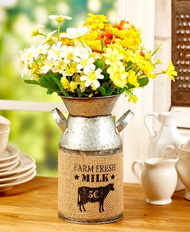 Country Floral Bouquets or Milk Can Vase