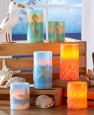 Sets of 2 Coastal LED Candles