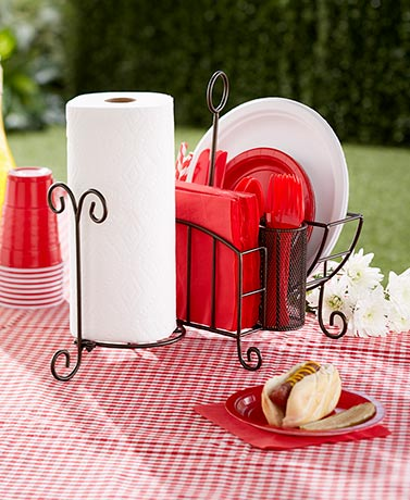 Picnic Caddy with Paper Towel Holder