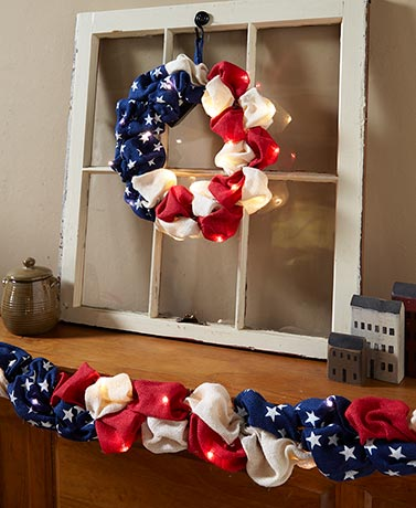 Lighted Patriotic Burlap Wreath or Garland