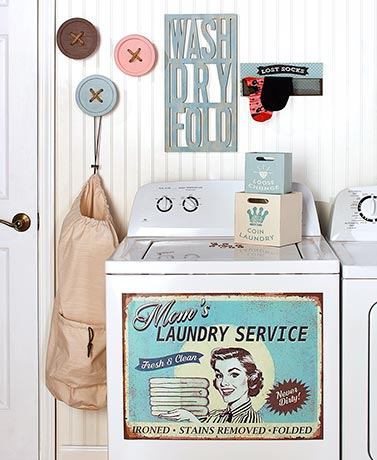 Vintage-Inspired Laundry Room Accents