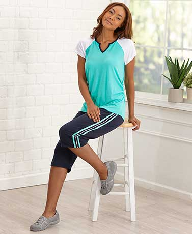 Sporty Raglan Top and Capri Sets