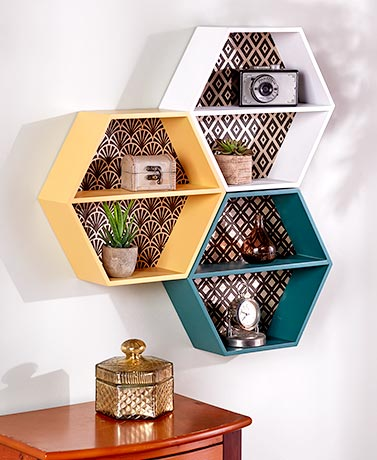 Retro Honeycomb Wall Shelves