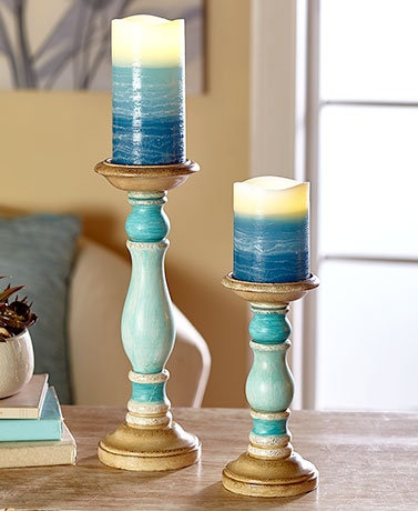 4-Pc. LED Pillar Candle & Holder Sets