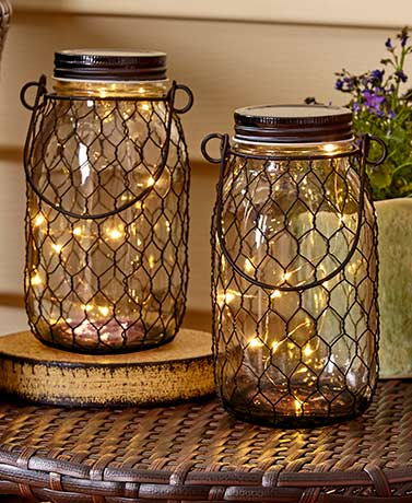 Set of 2 Fairy Light Jars