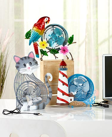 Themed Metal USB Desk Fans