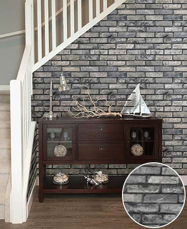 Prepasted Brick Wallpaper - Gray