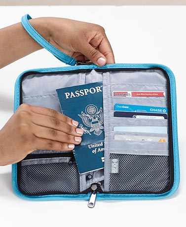 RFID Zip-Around Passport Organizer Wallets