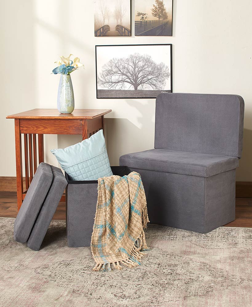 Foldable Storage Chair Or Bench With Backrest ...