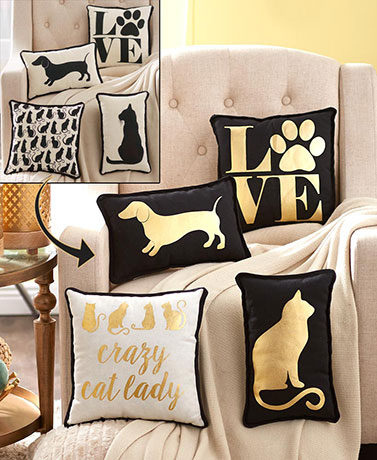 Reversible Pet Lover's Metallic Accent Pillows