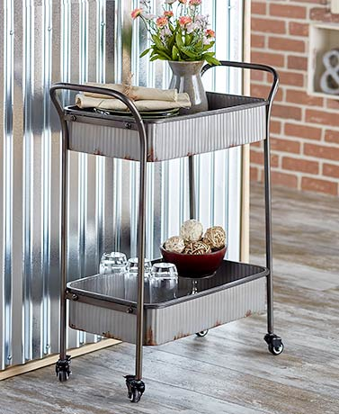 Corrugated Metal Rolling Cart