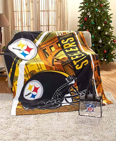 "60"" x 80"" NFL Fleece Throw with Tote"