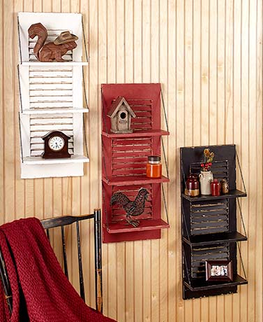 Country Shutter Wall Shelves