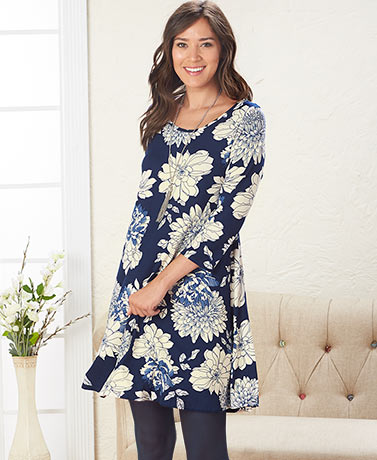 Women's and Women's Plus Floral Swing Dresses