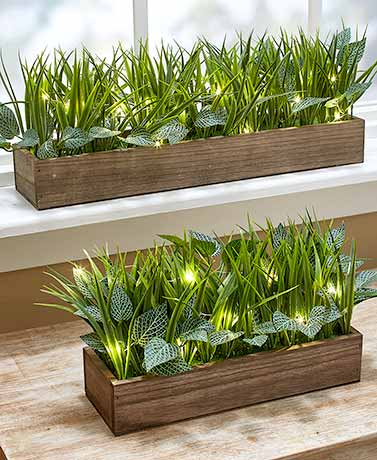 Lighted Faux-Grass Planters