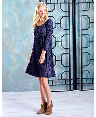 Women's and Women's Plus Sweater Knit Swing Dresses