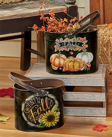 Autumn Porch Decor Set of 2 Harvest Planters