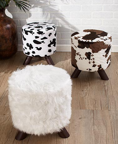 Animal Print Fabric-Covered Ottomans