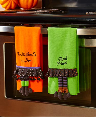 Sets of 2 Novelty Leg Kitchen Towels