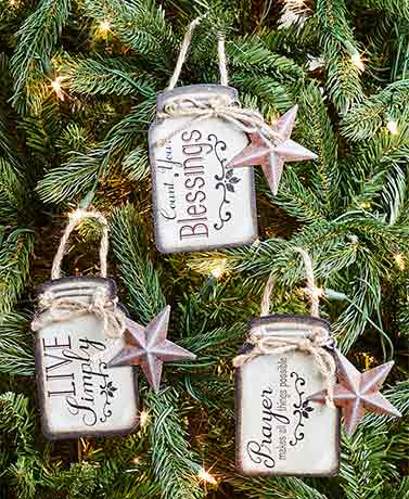 Sets of 3 Sentiment Mason Jar Ornaments