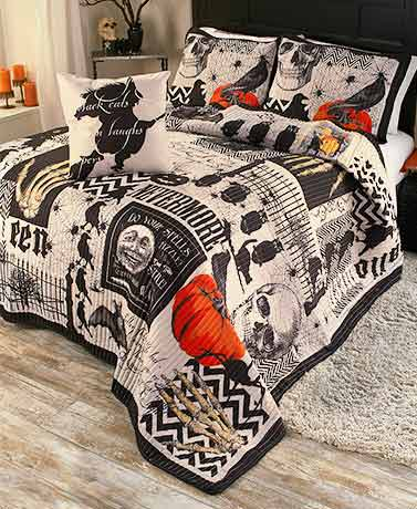 Nevermore 4-Pc. Halloween Quilt Set