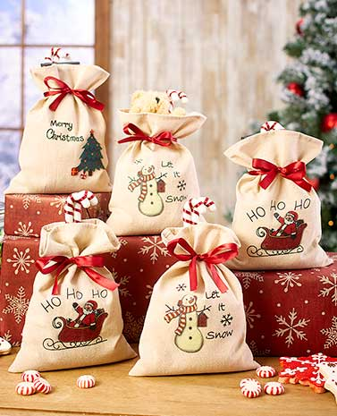 Set of 5 Holiday Treat Bags