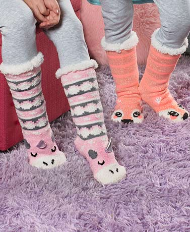 Girls' Plush-Lined Critter Slipper Socks