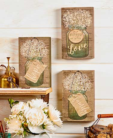 Mason Jar Sentiment Box Signs