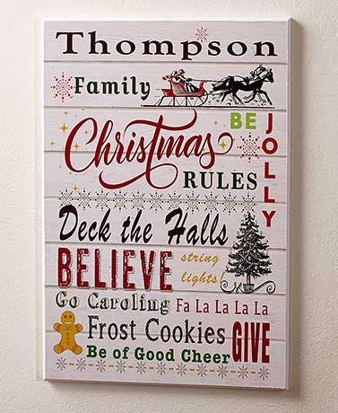 Christmas Rules Personalized Holiday Wall Plaques