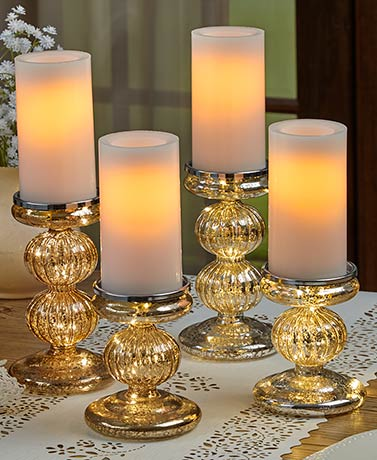 Sets of 2 Lighted Mercury Glass Candleholders