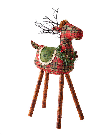 Lighted Plaid Reindeer