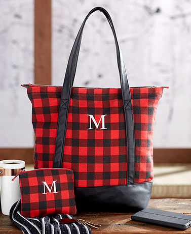 2-Pc. Monogram Buffalo Plaid Tote Sets
