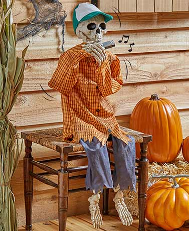 "38"" Halloween Harmonica-Playing Skeleton"