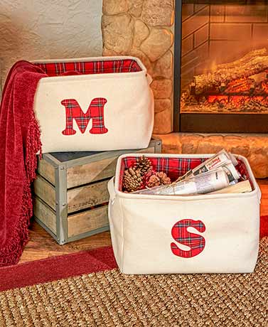 Monogram Plaid Bins