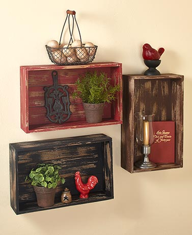 Distressed Wood Crate Wall Shelves