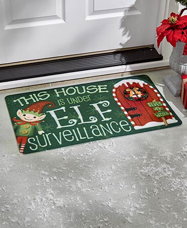 Holiday Doormat - Elf Surveillance