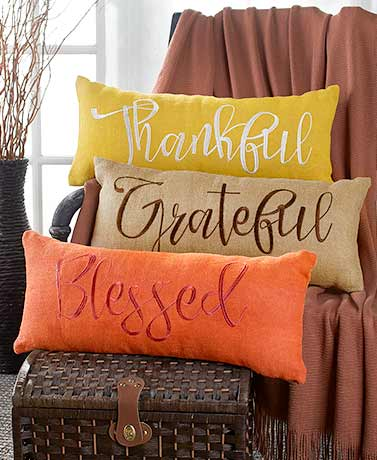 Embroidered Burlap Bench Pillows