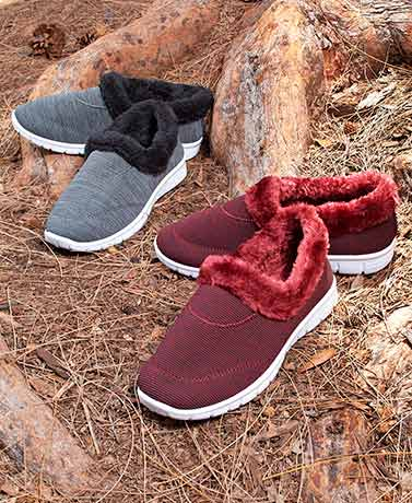 Memory Foam Faux Fur-Lined Sneakers