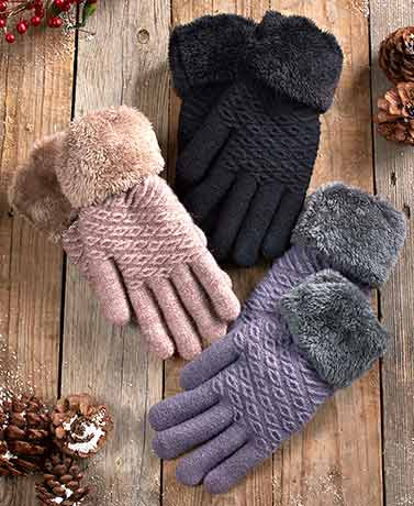 Plush-Lined Gloves with Faux Fur Cuffs