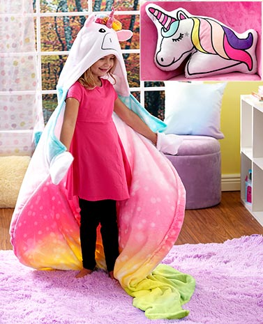 Unicorn Hooded Throw or Pillow