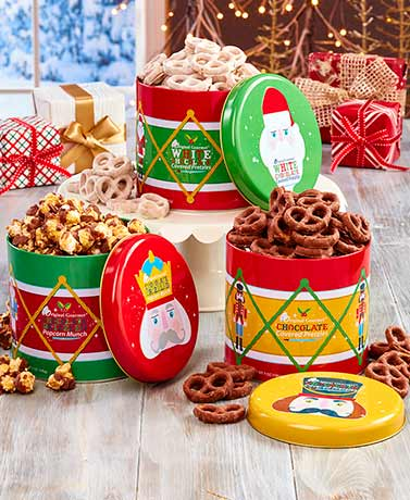 Gourmet Goodies in Holiday Tins