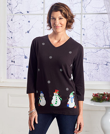 Women's Embroidered Holiday Knit Tops