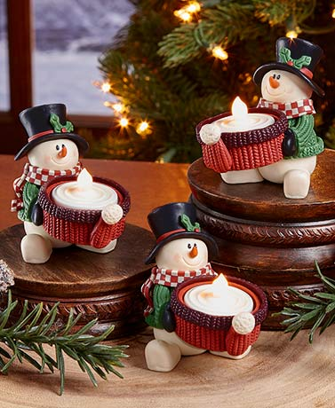 Set of 3 Snowmen Tea Light Candleholders