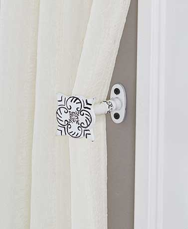 Vintage Door Knob Curtain Tie-Backs - Embossed White Metal